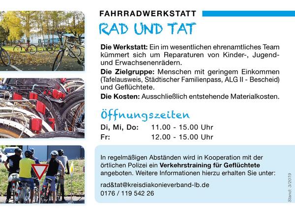 "Infoflyer ""Rad und Tat"" © Kreisdiakonie Ludwigsburg"