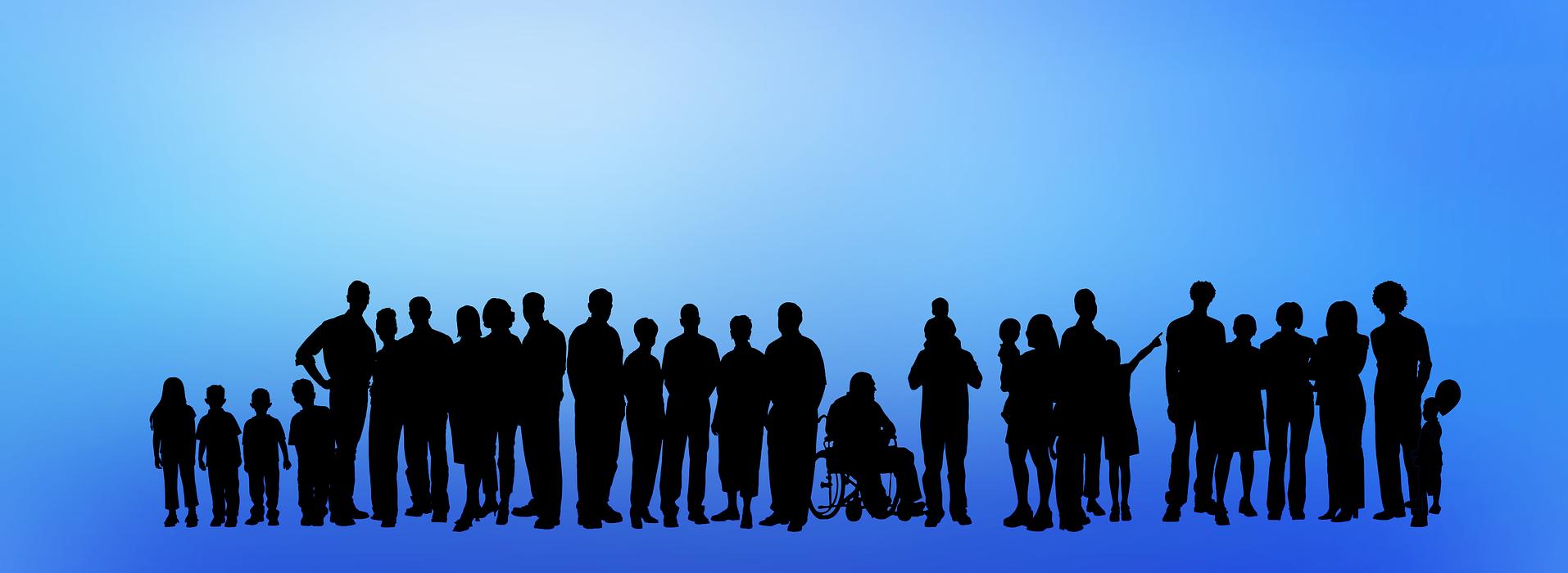 Personengruppe mit Behinderten mit Rollstuhl in der Mitte - Symboldbild Inklusion Inklusion_Symbol.png