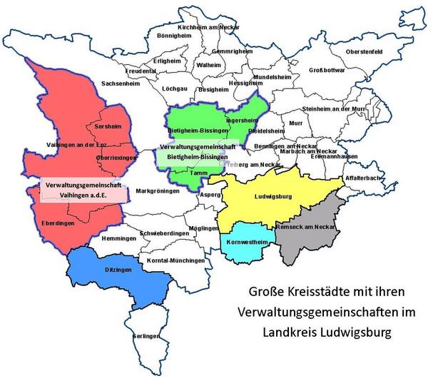 Große Kreisstädte mit ihren Verwaltungsgemeinschaften im Landkreis Ludwigsburg