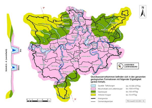 Geologie im Landkreis Ludwigsburg (vereinfacht)