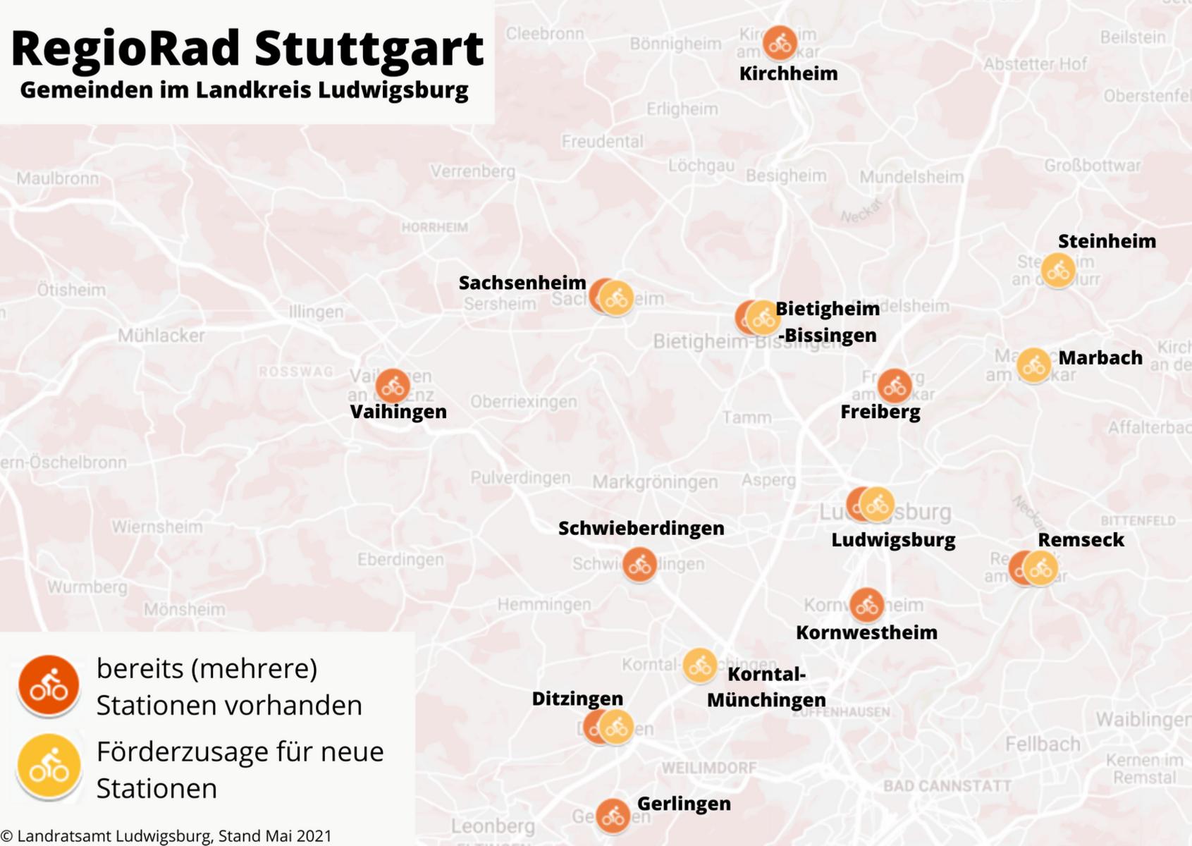 Übersichtskarte RegioRad-Stationen im Landkreis © Landratsamt Ludwigsburg